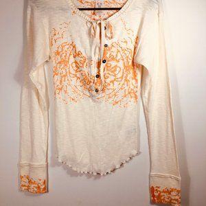 NWOT Free People button down lace trim blouse sz s